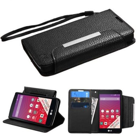 LG F60 Book-Style Flip Stand  Wallet Case - Blue