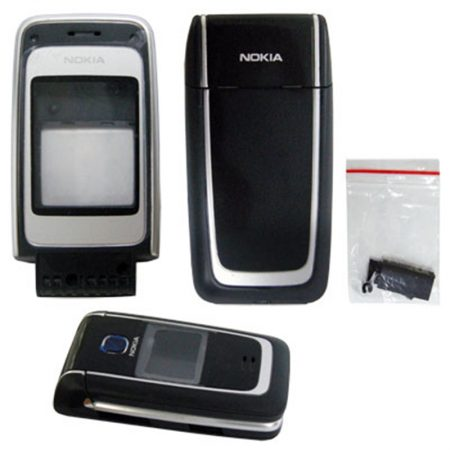 NOKIA 6125 BLACK-SILVER FRONT+ LENS -MIDDLE -BATTERY COVER