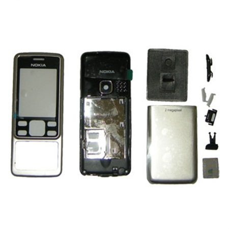 NOKIA 6300i / 6300 SILVER FRONT+LENS - MIDDLE - BATTERY COVER