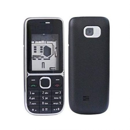 NOKIA C2-01 BLACK FRONT-BATTERY COVER+LENS